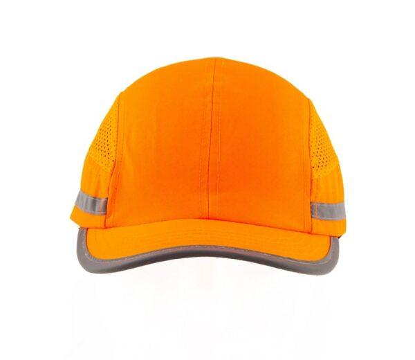 casquette anti choc orange fluo