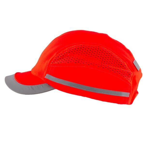 casquette de protection toute saison rouge fluo